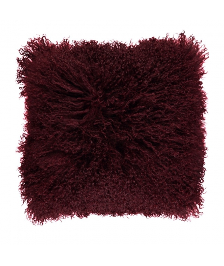 NC - Tibetian Sheepskin Cushion (one sided): Burgundy