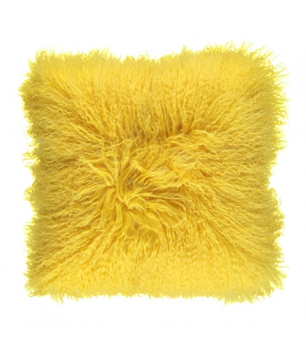 NC - Tibetian Sheepskin Cushion (one sided): Lemon