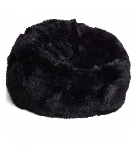 NC - Beanbag, NZ Long-Wool Sheepskin: Black