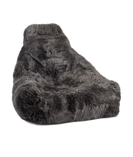 NC - Chair Beanbag, NZ Long-Wool Sheepskin: Steel
